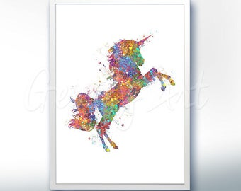Unicorn Watercolor Art Print  - Home Living - Animal Painting - Unicorn Poster - Wall Decor - Home Decor - House Warming Gift