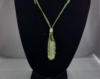 Adjustable Length Macrame Pouch Necklaces with Removable Clear Quartz Crystal point