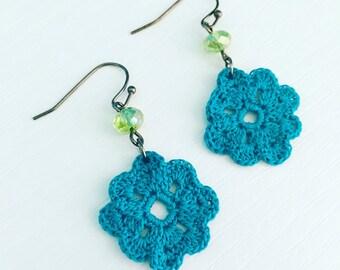 Neenah Crochet Earrings in Peacock Blue, Lightweight Dangle Earrings, Lace Doily Earrings, Beach Jewelry, Bridesmaid Gift, Summer Fashion