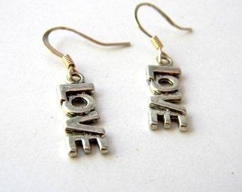 Love Earrings Silver Color Word Love Earrings Dangle Earrings