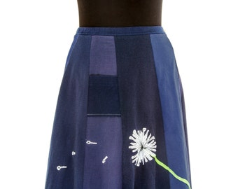 T-Skirt | upcycled, recycled, appliqué navy blue t-shirt skirt with blowing dandelion + pocket
