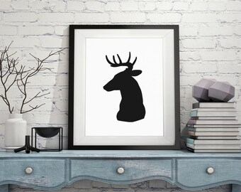 Deer Silhouette Print Modern Art Minimalist Art Deer Print Black White Art Silhouette Print Buck Wall Art Picture Silhouette Art Minimal Art