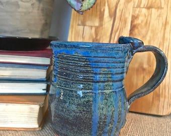 Quirky Handmade Mug- Blue Drip Glazed