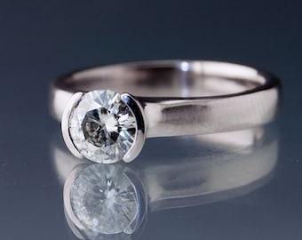 Forever One or Supernova Moissanite Round Half Bezel Classic Solitaire Engagement Ring in 14k Palladium White Gold, Simple Moissanite Ring