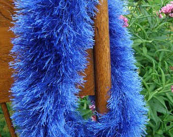 Sapphire Blue Fun Fur Cowl,  Neckwarmers, Neckwrap