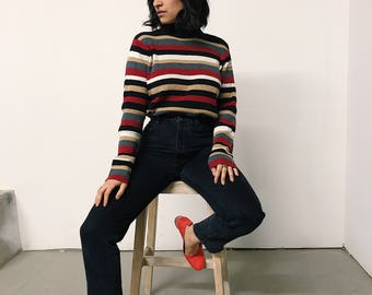 vintage 90s red/brown/cream stripe mock neck sweater // small