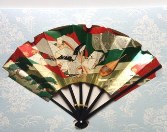 Card with fan and envelope, traditional Japanese pattern (F1007)