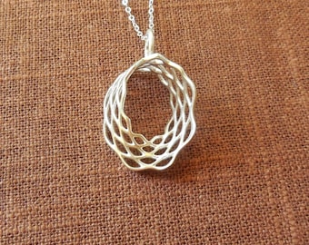 Mobius Mesh - Sterling Silver Pendant Made Using 3D Printing | 3D Printed Pendant | 3D Printed Jewelry