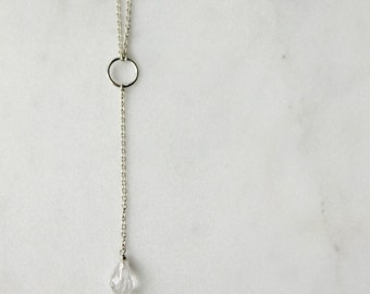 Delicate Sterling Silver Y Necklace / Modern Fine Chain Swarovski Crystal Teardrop / Layering Long Necklace / Modern Minimalist Jewelry