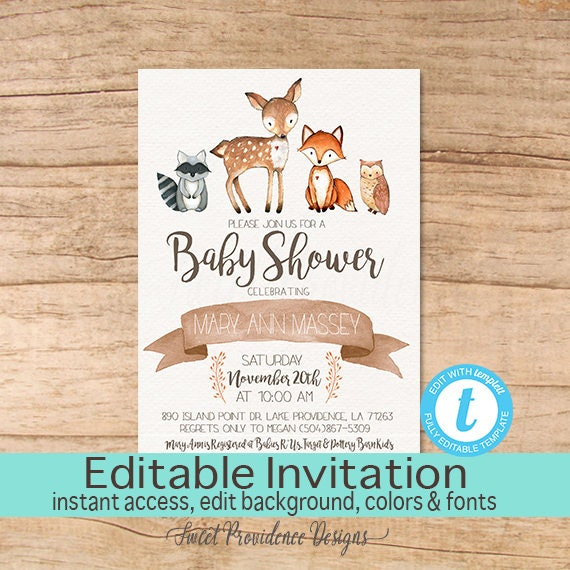 Baby Shower Invitation Woodland Animals Invitation Editable