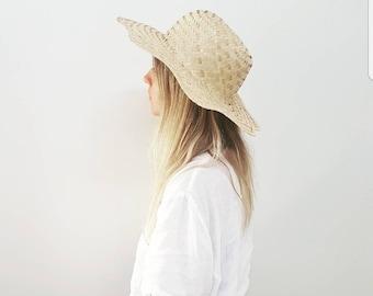 Vintage Boho Sun Hat // 90's Straw Wide Brim Beach Hat // Womens Head Accessory
