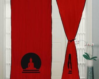 curtain, Buddha Curtain, Hand block Printed, Red Cotton Curtain,  White piping, Curtains, curtain panels