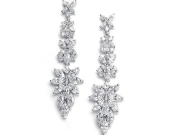 Sterling Silver 925 Crystal Drop Bridal Earrings