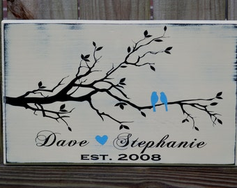 Love Birds Signs - Established Date Sign - Personalized Wedding Gift - Engagement Gift - Wood Anniversary Gift - Important Date Wood Sign