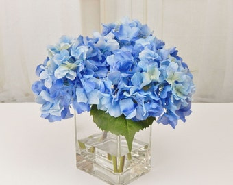 Blue, silk, hydrangea, faux/acrylic/illusion, water, Real Touch flowers, floral arrangement, centerpiece, wedding, home/office, decor, gift