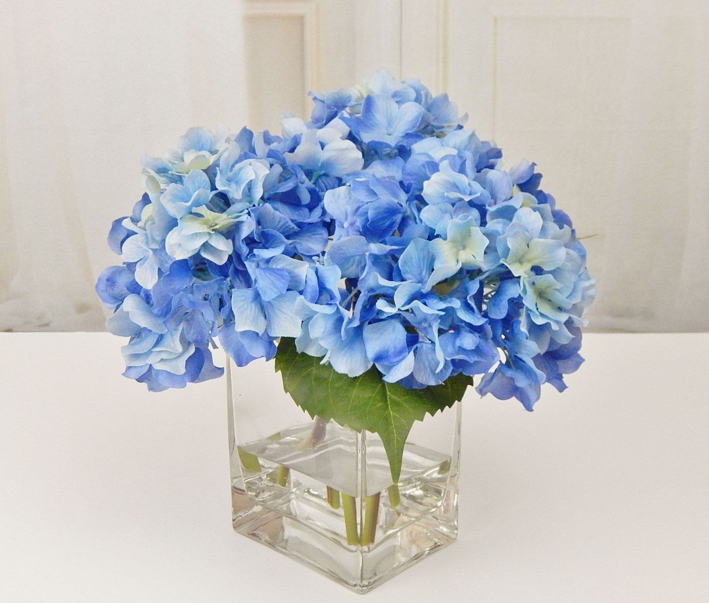 Blue silk hydrangea fauxacrylicillusion water real touch blue silk hydrangea fauxacrylicillusion water real touch flowers floral arrangement centerpiece wedding homeoffice decor gift mightylinksfo