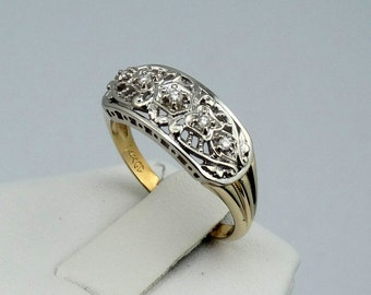 Stunning 1930's Vintage Filigree Two-Tone 14K Gold and Diamond Ring FREE SHIPPING! #1930DMD-GR4