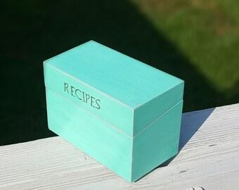 Turquoise Shabby  Rustic  Wood Recipe  Box Distressed  WeddingDecor  Recipe Holder Rustic Wedding