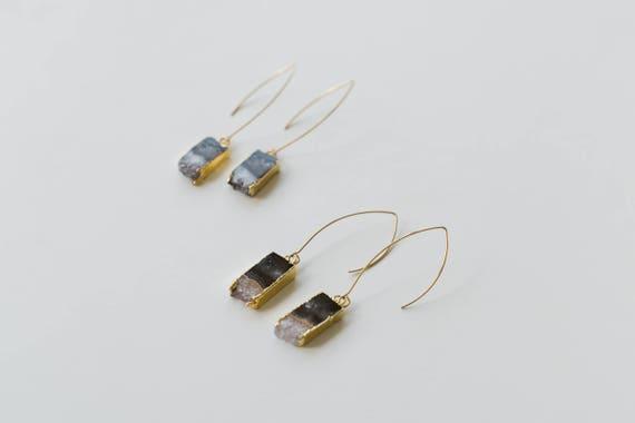 Amethyst Slice Dange Earrings