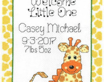 Cross stitched birth announcement, made to order