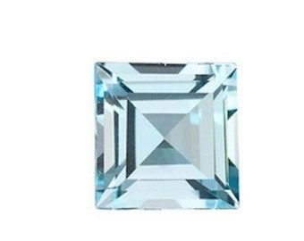 Natural Sky Blue Topaz AAA Square Step-Cut (2x2mm - 15x15mm) Loose Gemstones