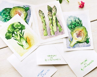 Original watercolor painting artichoke, asparagus and broccoli ACEO cards, kitchen home decor for vegetables lovers, vegan veggie gift idea
