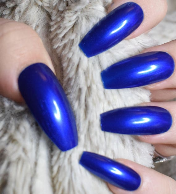 Electric Blue Fake Nails, Long Coffin False Nails, Hand Painted ...