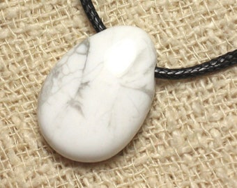 Stone - Howlite drop 25mm pendant necklace