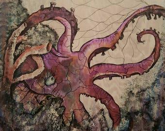 "The Octopus Escapes - 24"" x 24"""