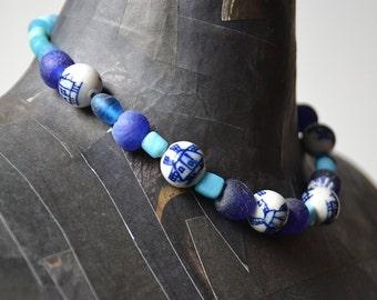 Dutch Delft blue beaded necklace