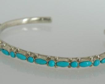 Zuni Natural Blue Turquoise Dot Dash Sterling Silver Native American Row Bracelet Signed E J K