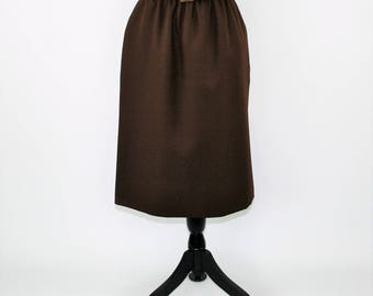 80s Brown Skirt with Pockets Polyester Midi Women Large A Line Skirt Size 12 Skirt Minimalist Alfred Dunner Vintage Clothing Womens Clothing