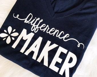 Difference Maker t-shirt, teacher tee, teacher style, motivational t-shirt, teacher shirt, classroom shirt
