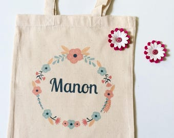 Mini tote bag personalized - flowers