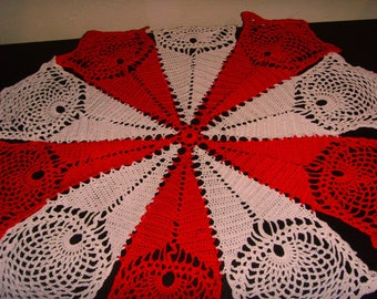 Round doily white and Red crochet diameter 52 cm