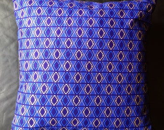 African glitter print cushion, royal blue and gold, shimmer cushion, metallic, shiny, tribal, ethnic, handmade