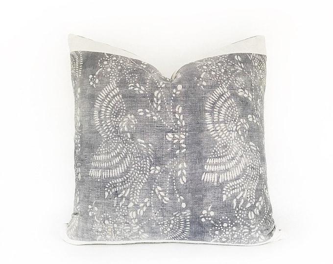 Vintage Gray Chinese Batik And Vintage Hemp Pillow Cover 20x20