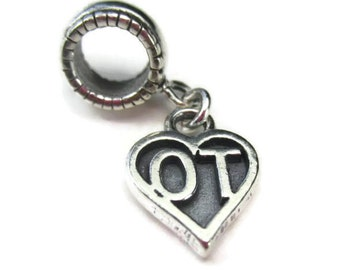 Occupational Therapy Charm in Sterling Silver, OT Bead for European Bracelets, Graduation Gift