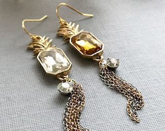 pineapple earrings rhinestone fruit jewelry asymmetrical earrings whimsical jewelry gold pineapples chain tassel earrings summer TROPICANA