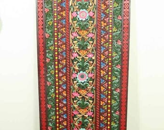 """Huge 60"""" Indonesian Ornate Hand Carved and Painted Wooden Panel, Rumbai Sumatra, South East Asian"""