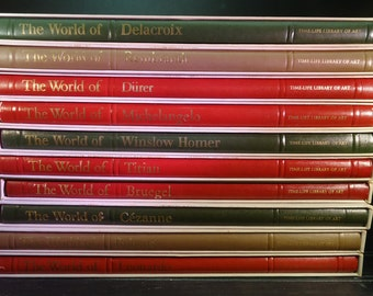 vintage Time Life Library of Art books with cases group of 10 Rembrandt Leonardo Michaelangelo Homer Cezanne