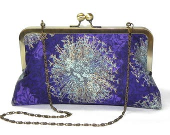 Elegant Clutch - Floral in purple, gold and seafoam green - Brass kisslock frame with chain - Wedding clutch - Evening clutch