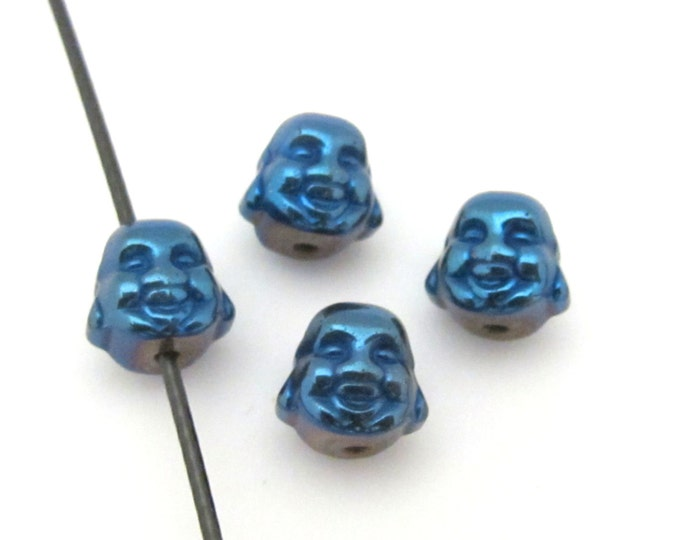 4 Beads  -  Smiling Buddha blue titanium color plated hematite gemstone beads 8 mm - BD655
