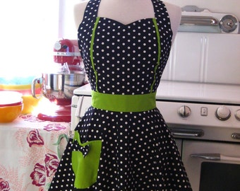 Retro Apron Black and White Polka Dot with Lime Green MAGGIE