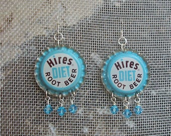 Bottle Cap Earrings Vintage Hires Diet Root Beer Soda