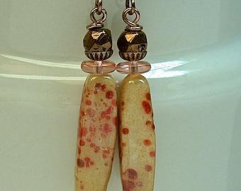 Vintage Japanese Coral Orange Handmade Glass Bead Dangle Drop Earrings ,Vintage Copper Glass, Vintage German peach glass,Copper Ear Wires