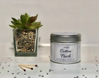 Cotton Fresh Scented Candle Tin