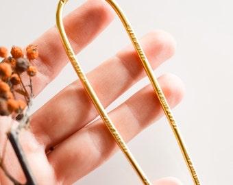 Brass hair pin, hammered brass hair accessory, silver bun pin, hair holder, hair jewelry
