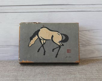 Vintage Large Hand Painted Matchbox with Horse Design, Vintage Asian Design Match Box, Vintage Match Holder