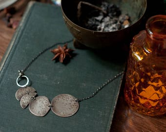 moon phase necklace -lunar cycle - lunar phase - hammered sterling silver - oxidised - moon Goddess necklace, fire patina, hammered brass.